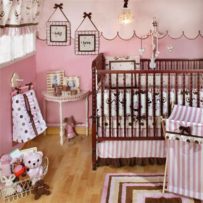 My Baby Sam  BABY LOVE 4pc Crib Bedding Set - FREE SHIPPING-my baby sam baby love crib bedding set nursery ensemble pink chocolate brown polka dots blanket comforter sheet dust ruffle bed skirt bumper pad diaper stacker laundry hamper musical mobile window valance rug