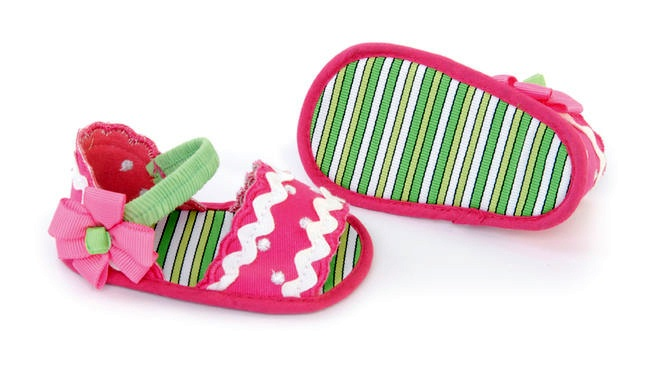 Mud Pie Baby Boutique Little Sprout Sandals PINK GREEN-