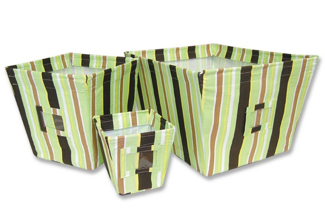 Trend Lab GIGGLES 3 Piece Fabric Storage Bins (Striped Print)-Trend Lab, Baby, boy, girl, striped, polka dots, nursery, crib, bedding, fabric, storage, bins, baskets, giggles