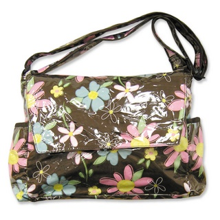 Trend Lab BLOSSOMS Laminated MESSENGER Baby Diaper Bag-Trend Lab, Laminated, Diaper, Bag, Tote, Baby, Girl