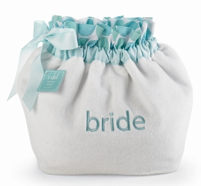 Mud Pie Blue & White BRIDE Terry Drawstring PAMPER POUCH-mud pie i do wedding bride bridal bridesmaid maid of honor embroidered tote bag terry pamper pouch gifts polka dot party groom groomsman mother of bride flower girl shower reception rehearsal dinner boutique trendy blue white black chocolate brown pink embroidered initial monogram monogrammed 281072 Something Blue