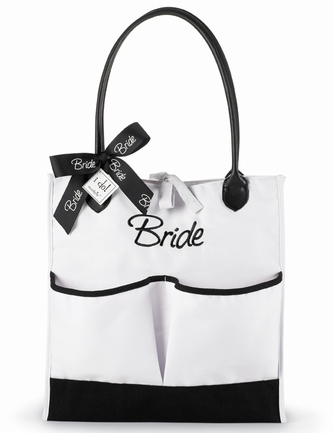 Mud Pie Black & White BRIDE Canvas Pocket Tote-mud pie i do wedding bride 281096 bridal bridesmaid maid of honor embroidered pocket tote bag terry pamper pouch gifts polka dot party groom groomsman mother of bride flower girl shower reception rehearsal dinner boutique trendy blue white black chocolate brown pink embroidered initial monogram monogrammed Something Blue faux patent leather