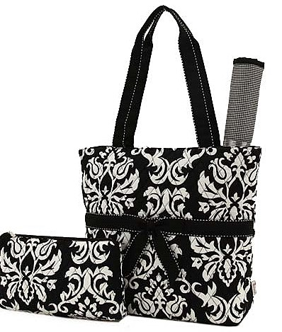 Trendy BLACK & WHITE Paisley Damask Quilted Large Diaper Bag-baby, boutique, quilted, large, custom, trendy, diaper bag, diaper, bag, craft, scrap-booking, paisley, toile, damask
