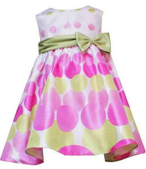 Rare Editions for Girls SHANTUNG Pink & Green Polka Dot Party Dress-rare editions for girls trendy boutique pink green polka dot party dress bonnie jean baby silk shantung special occasion flower girl wedding birthday holiday easter taffeta satin crinoline full ruffled premium quality lime hot bubblegum light bright sage mint blue brown purple yellow black white brand new set outfit