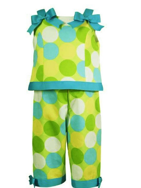 RARE EDITIONS Trendy 2 Piece LIME GREEN MOD DOTS Capri Set-Rare Editions, rare, edition, buttons, bags, bows, girls, infants, toddlers, clothes, clothing, sportswear, unique, baby, capri, capris, polka dots, dots, polka dot, pageant