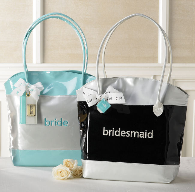 Mud Pie Embroidered Faux Patent Leather BRIDE/BRIDESMAID Tote Bag-Wedding, mud pie, bride, bridal, shower, gift, bridesmaid, personalized, embroidered, mud pie, tote bag