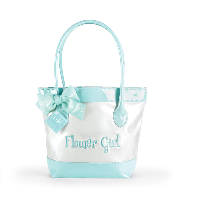 Mud Pie Embroidered Faux Patent Leather  FLOWER GIRL Tote Bag-Wedding, mud pie, bride, bridal, shower, gift, bridesmaid, personalized, embroidered, mud pie, tote bag, faux leather, leather, honeymoon, wedding gift, groom, mother of the bride, mother of the groom, flower girl