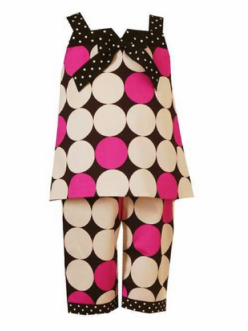 RARE EDITIONS MOD DOT Polka Dot Capri 2 Piece Set-Rare, editions, rare editions, boutique, girls, capri, capris, polka dots, dots, grosgrain ribbon, bows, pageant, party, girls, infants, toddlers, clothing, clothes