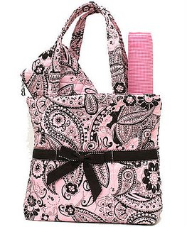 Bubblegum PInk & Chocolate Brown PAISLEY Quilted Large Diaper Bag-