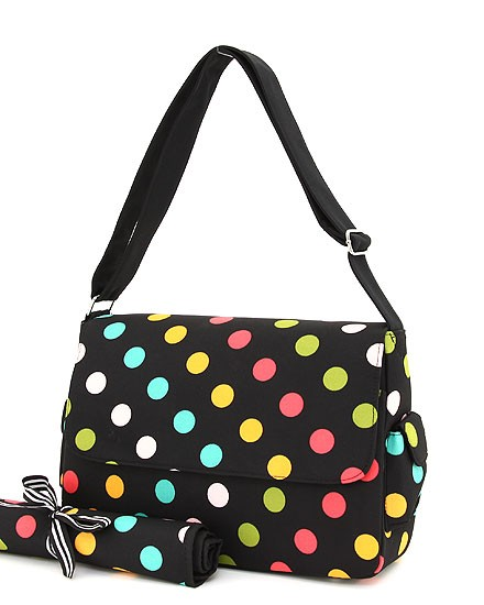 Trendy Messenger Polka Dot Diaper Bag w/Changing Pad (Unisex)-trendy designer inspired diaper bag with changing pad polka dot large purse handbag tote bag boutique baby travel cute unique discount celebrity stylish trend lab kalencom hoohobbers petunia pickle carter's oioi brand new bags skip hop pink chocolate brown blue green yellow orange purple black boy girl unisex