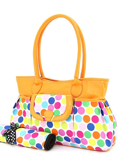 Trendy Polka Dot Diaper Bag w/Changing Pad (Bright Dots w/Orange)-trendy designer inspired diaper bag with changing pad polka dot large purse handbag tote bag boutique baby travel cute unique discount celebrity stylish trend lab kalencom hoohobbers petunia pickle carter's oioi brand new bags skip hop pink chocolate brown blue green yellow orange purple buttons bags and bows