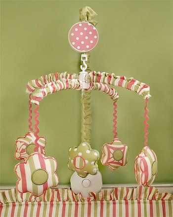 My Baby Sam MEDALLION in Pink Musical Mobile-my baby sam musical mobile sweet pea purple green trend lab baby bridal gift boutique custom baby boy girl infant nursery decor crib bedding set blanket new arrivals discount laundry hamper storage window valance diaper stacker rug lamp lampshade shade polka dot pink brown blue white stripes argyle paisley damask medallion barefoot dreamin' go car go mad about plaid in splash garden party trendy celebrity unique