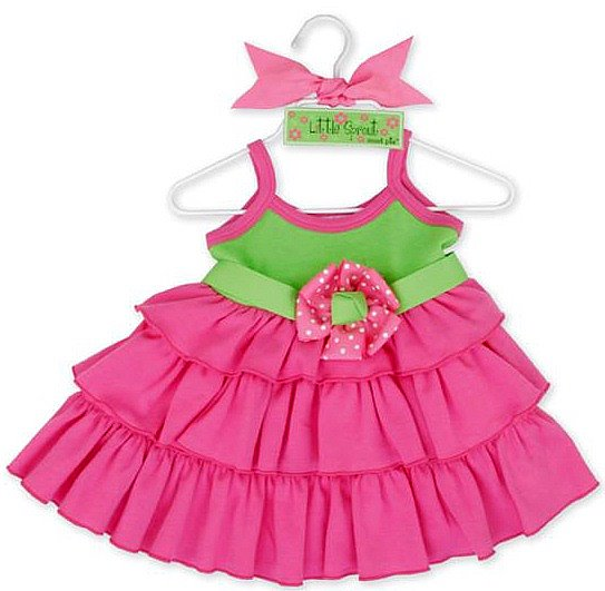 Mud Pie Little Sprout Ruffle Sundress 0-6 Months-Mud, Pie, Little, Sprout, Upscale, Baby, Boutique, Shower, Gifts, Girl, Newborn, Infant, Grosgrain, Ribbon, Belt, Flower, Dress