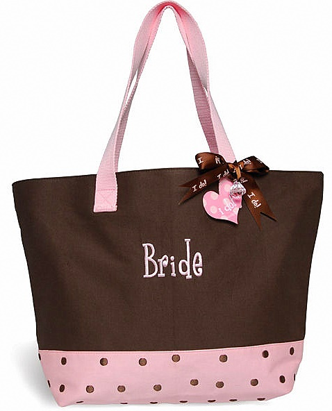 Mud Pie Chocolate Brown & Pink Embroidered BRIDE Tote Bag-Wedding, mud pie, bride, bridal, bride tote, 280007, shower, gift, bridesmaid, personalized, embroidered, mud pie, tote bag, faux leather, leather, honeymoon, wedding gift, groom, mother of the bride, mother of the groom, flower girl, polka dot, dots
