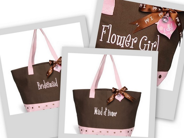 Mud Pie Chocolate Brown & Pink BRIDESMAID/MAID OF HONOR/FLOWER GIRL Tote Bag-Wedding, mud pie, bride, bridal, shower, gift, bridesmaid, personalized, embroidered, mud pie, tote bag, faux leather, leather, honeymoon, wedding gift, groom, mother of the bride, mother of the groom, flower girl, polka dots, PINK, brown, chocolate, bubblegum, rehearsal, reception, shower