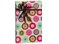 Dlx RETRO Pink & Chocolate CIRCLE DAISY Gift Wrap Wrapping Paper Roll-commercial, gift wrap, gift, wrap, wrapping paper, wrapping, paper, wholesale, gloss, wedding, birthday, bulk