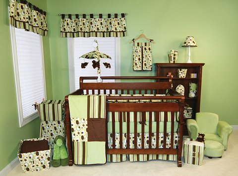 Trend Lab GIGGLES 4 Piece Nursery Crib Bedding Set - FREE SHIPPING-Trend Lab, Green, Chocolate, Brown, Baby, Crib, Bedding, Nursery, boutique, custom, designer, polka dot, unique, trendy